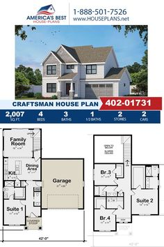 Introducing Plan 402-01731, a Craftsman design that's highlighted by 2,007 sq. ft., 4 bedrooms, 3.5 bathrooms, a kitchen island, an open floor plan, and the front entry garage feature. Learn all about this design on our website. Craftsman Style Homes, Craftsman House Plans, Cad Programs, Floor Plan Drawing, Cost To Build, Construction Drawings, Best House Plans, Build Your Dream Home, Front Entry