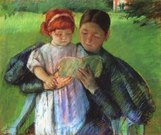 """Nurse Reading to a Little Girl"" (1895) pastel. By Mary Cassatt (1844-1926)"
