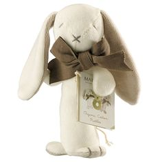 Maud n Lil Luxury Organic Cotton Stick Rattle Ears The Bunny