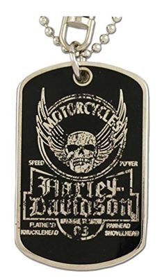 Harley-Davidson Dog Tag, Winged Skull Distressed Chain/Keychain, Silver 8002763 : Jewelry : Wisconsin Harley-Davidson