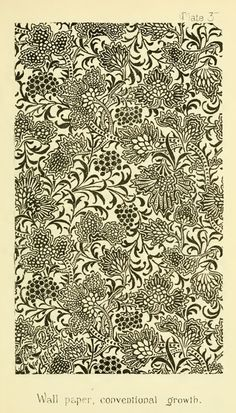 Nature in Ornament (1892) by Lewis F Day. Plate 37. WALL-PAPER - conventional growth - L.F.D.
