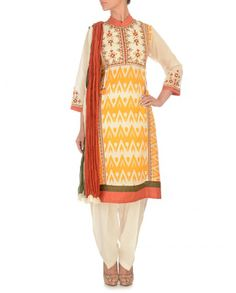 RITU KUMAR Mustard Yellow Printed Suit Ritu Kumar, Yellow Print, Punjabi Suits, Mustard Yellow, Kurtis, Indian Outfits, Party Wear, Indian Fashion, Ethnic
