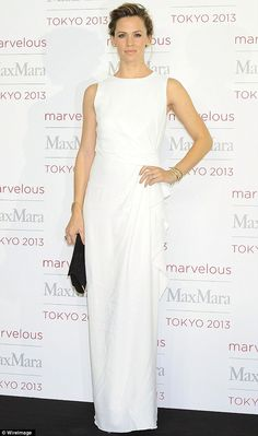 Lady in white: Jennifer Garner was the epitome of elegance as she attended a photo call of Marvelous Max Mara held at the Ryogoku Kokugikan ...