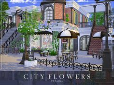 City Flowers house by Cross Architecture from TSR for The Sims 4 Sims Freeplay Houses, Sims 4 Houses, Sims 4 Loft, Sims 4 Restaurant, Super Hotel, The Sims 4 Lots, City Flowers, Sims 4 House Design, Casas The Sims 4