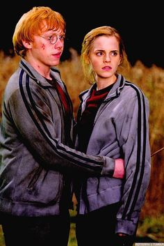Emma Watson and Rupert Grint from a scene in Harry Potter.