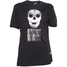 Pre-owned Love Moschino Slogan Skull Design T Shirt ($67) ❤ liked on Polyvore featuring tops, t-shirts, black, skull t shirts, short sleeve tee, moschino top, moschino t shirt and black top
