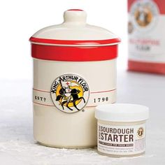 """Fresh Sourdough Starter & Crock Set: Fresh sourdough starter is descended from a starter that's been lovingly nurtured here in New England since the 1700s. A handsome stoneware crock, the perfect size and material for fridge-storage of the starter. 7½"""" tall, 1-quart capacity. $29.95   King Arthur Flour"""