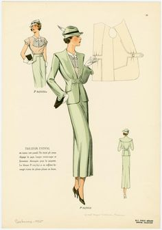 1930s, classic long skirt, suit, shirt. with large bow cowl scarf tie.