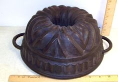 Vintage Ornate Cast Iron Bundt Cake Jello Mold Cookware PAN | eBay