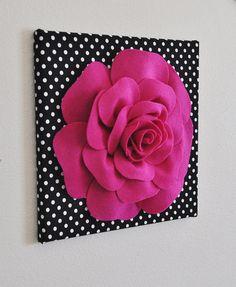 "Rose Wall Hanging- Fuchsia  Rose on Black and  White Polka Dot 12 x12"" Canvas Wall Art- 3D Felt Flower"