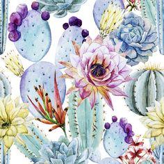 Watercolor Cactus Removable Wallpaper 8 Feet by WallsNeedLove