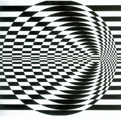 Bridget Riley. Around 1960 she began to develop her signature Op Art style consisting of black and white geometric patterns that explore the dynamism of sight and produce a disorienting effect on the eye. Her works were said to induce sensations in viewers as varied as seasick and sky diving.