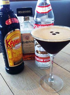 Espresso Martini One espresso shot of Origin coffee shot 25ml Kahlua 25ml Disarrono 50ml vodka 1 tsp sugar syrup