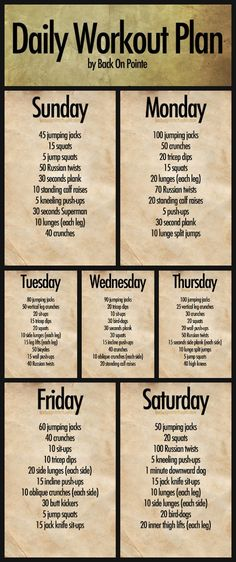 Daily Workout Plan - starting jan 7th! not that it'll last long… but i hope it does!