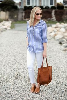 Blue and White Striped Shirt - Denim And White - Ideas of Denim And White - Blue and White Striped Button Up Shirt Summer Outfit Beach Style Red White & Denim Blue Striped Shirt Outfit, Blue Shirt Outfits, Blue And White Outfits, Outfits With Striped Shirts, Blue And White Striped Shirt, White Denim, Casual Outfits, Fashion Outfits, Red Shirt