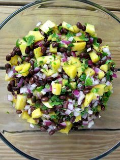 Pineapple Black Bean Salsa:  2 cans black beans, drained and rinsed  1 pineapple, cored, peeled, and diced  1 large bunch cilantro, coarsely chopped (to taste)  1 small red onion, diced  3 cloves garlic, minced  3 limes, juiced  1 jalapeno, minced  sea salt and freshly ground black pepper, to taste    DIRECTIONS  1. In a large bowl, toss to combine black beans, pineapple, onion, garlic, lime juice, and jalapeno. Stir in cilantro and season with sea salt and freshly ground black pepper to tas...