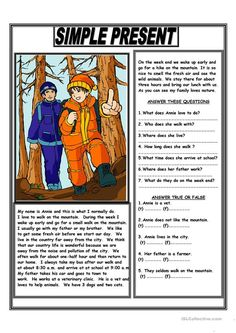 Reading Present Simple Worksheet and Simple Present Reading Comprehension Text - English Esl Comprehension Exercises, Reading Comprehension Activities, Reading Worksheets, Printable Worksheets, Teaching English Grammar, English Vocabulary, Grammar Lessons, English Lessons, Learn English