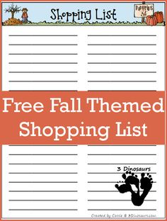 Monthly Goals September 2015 – Free Fall Shopping List - 3Dinosaurs.com