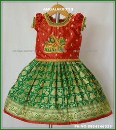 Angalakruthi-Custom designer boutique in Bangalore We. Kids Blouse Designs, Silk Saree Blouse Designs, Choli Designs, Kurti Neck Designs, Kids Dress Wear, Dresses Kids Girl, Kids Wear, Kids Outfits, Blouse Pattern Free
