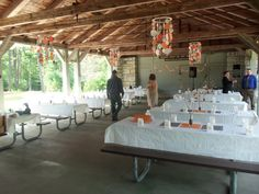 decorating a pavilion for a wedding reception | They rented a beautiful pavilion.