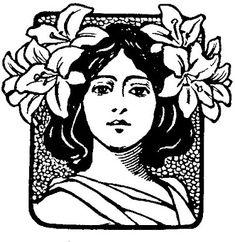 Iona's Closet: Still in Circulation: Art Nouveau Typographic Ornaments Ex Libris, Tatuagem Art Nouveau, Art Nouveau Illustration, Muse Art, Vintage Silhouette, Flowers In Hair, Flower Art, Printmaking, Watercolor Art