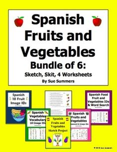 Spanish Fruits and Vegetables Bundle of 6 Items by Sue Summers - Includes a crossword, word search, skit, sketch activity and 2 vocabulary IDs worksheets.