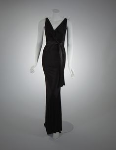 Silk bias-cut evening dress, ca. 1933. Made by Schiaparelli, Paris. Missouri History Museum collection. See this dress before the Little Black Dress exhibit closes Sept. 5. http://mohistory.org/node/40728 #LBD #1930s #vintage #fashion
