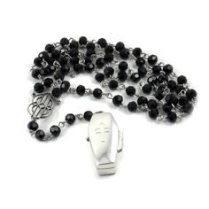 Gothic Rosary Necklace - Mourning Necklace - Buried Alive - with Sterling Silver Coffin and Praying Frozen Charlotte Doll - by Ghostlove on Etsy, $125.00