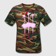 Three Pink Christmas Flamingos - Unisex Camouflage T-Shirt