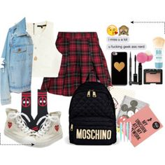 Back to School Outfit Back To School Outfits, Moschino, Shoe Bag, Polyvore, Stuff To Buy, Shopping, Shoes, Collection, Design