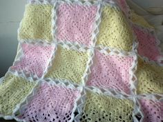 Crochet Baby Blanket Pale Pink Baby Pink Pale Yellow Baby Yellow White Gift Christmas