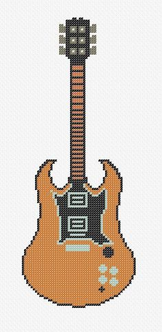 Dibujos Punto de Cruz Gratis: Guitar Cross Stitch Pattern - Guitarra punto de cruz: