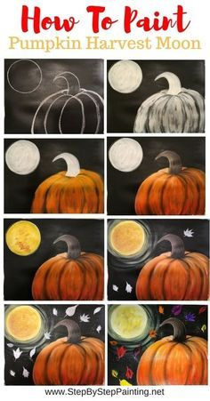 How To Paint A Pumpkin Harvest Moon Learn how to paint a pumpkin on canvas. This step by step acrylic painting tutorial will demonstrate how to paint an orange pumpkin and harvest moon. Halloween Canvas Paintings, Fall Canvas Painting, Canvas Painting Tutorials, Halloween Painting, Halloween Drawings, Autumn Painting, Autumn Art, Diy Painting, Fall Paintings