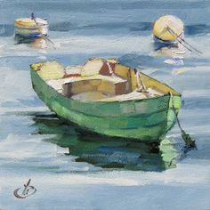 ONE DOLLAR AUCTION, 6x6 inch HARBOR BOAT by TOM BROWN, painting by artist Tom Brown