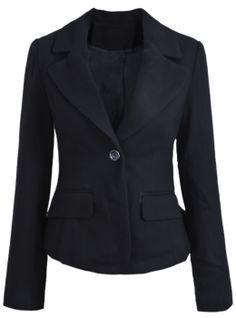 Black Notch Lapel Long Sleeve Crop Blazer 0.00