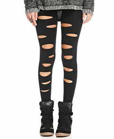 Material Girl Juniors Leggings black destruction nylon/spandex (14.99) NA 1/16