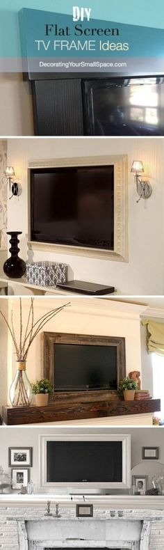 DIY TV Frame: Disguise that Flat Screen! I'm doing this in our house! DIY TV Frame: Disguise that Flat Screen! I'm doing this in our house! Tv Emoldurada, Style At Home, My Living Room, Home And Living, Tv Diy, Sweet Home, Framed Tv, Diy Casa, Home And Deco