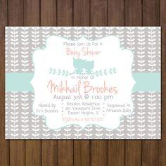 Printable Baby Girl Shower Invitation Owl Theme by BurlapAndBeauty, $13.00