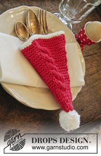 """DROPS Christmas: Knitted DROPS cutlery holder with cables in """"Paris"""". ~ DROPS Design freebie, thanks so xox"""