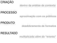Conteúdo dos encontros com André Fonseca sobre desenvolvimento de projetos. Curso Produção Cultural Projecta + Palco de Papel - Edição 2013