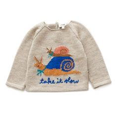 A delightful duo offers a gentle reminder to Take is Slow on a classic pullover sweater with knit in details. Made in Peru. Cool Sweaters, Baby Sweaters, Ugly Sweater, Pullover Sweaters, Pretty Outfits, Cool Outfits, Kid Outfits, Textiles, I Dress