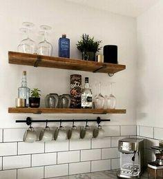 Rustic Wooden Shelves, Wooden Shelves Kitchen, Timber Shelves, Kitchen Shelf Decor, Wooden Floating Shelves, Floating Shelves Kitchen, Kitchen Redo, Rustic Kitchen, Industrial Shelving Kitchen