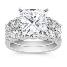Cathedral Diamond Wedding Set with Princess Cut Diamond
