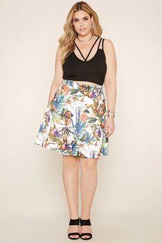 Plus Size Tropical Print Skirt #f21plus
