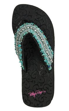 M&F Blazin Roxx Women's Meredith Turquoise Beaded Rhinestone Flip Flops | Cavender's