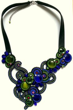 Schwarz-Blau-Grün Soutache Collier / black-blue-green soutache necklace - This soutache is a real piece of art!