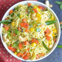 Instant Pot Vegan Vermicelli Bowl - Semiya Upma / Vermicelli Upma - A popular Indian breakfast dish which is also known as Vermicelli Upma/ Semiya Upma/ Namkeen Javein. A quick, easy and light recipe, this Indian Food Recipes, Vegetarian Recipes, Healthy Recipes, Chinese Recipes, Vegan Vegetarian, Vegan Soups, Vegan Meals, Vegan Dishes, Raw Vegan