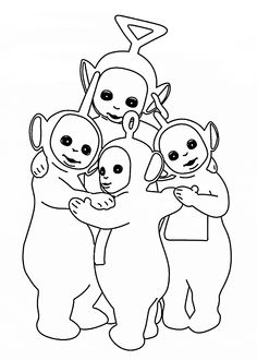 Teletubbies together coloring pages for kids, printable free