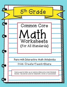 Printables Common Core Math Worksheets For 5th Grade maths notebooks amazing websites and on pinterest common core math worksheets for all 5th grade standards pairs well with interactive math