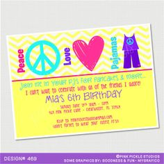 Peace Love Pajamas Birthday Invitation or by PinkPickleParties, $10.00